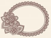 Hand-Drawn Lace Doilie Henna/Mehndi Paisley Flower Doodle Vector Illustration Frame Border Design El