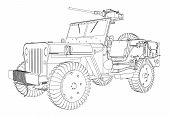 Постер, плакат: Army Jeep Vector 01 eps