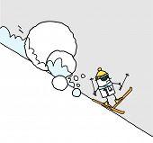 foto of avalanche  - skier  - JPG