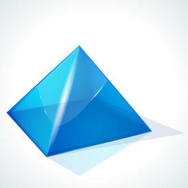 stock photo of pyramid shape  - Blue pyramid on white background - JPG