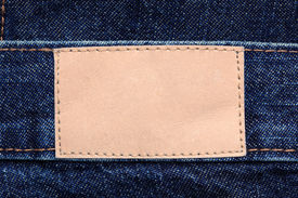 image of denim jeans  - Blank leather denim jeans label to add your own design or text - JPG