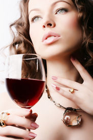 pic of red wine  - Portrait of beautiful woman with glass red wine - JPG