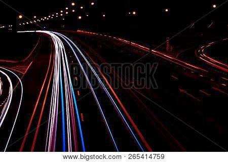 Cars Light Trails On A