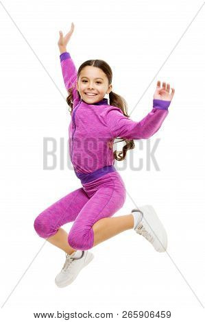 poster of Deal With Long Hair While Exercising. Girl Cute Kid With Long Ponytails Sportive Costume Jump Isolat