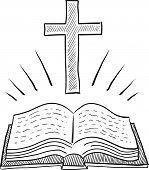 Постер, плакат: Библия и крест эскиз