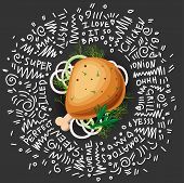 Chicken Grilled Leg Vector Icon, Isolated On Black Background With Greens And Onion. Tasty Juicy Chi poster