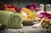 Spa Composition With Christmas Decoration. Holiday Spa Treatment poster