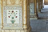 image of khas  - Inlaid marble columns and arches Hall of Private Audience or Diwan I Khas at the Lal Qila or Red Fort in Delhi India - JPG