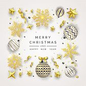 Christmas Background With Shining Snowflakes, Bow And Colorful Balls. New Year And Christmas Card Il poster
