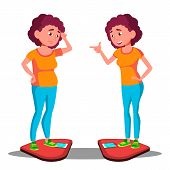 Sad Young Fat Girl On The Scales, Happy Slim Girl On The Scales Vector. Before, After Diet. Isolated poster