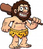 pic of caveman  - Cartoon caveman holding a club - JPG