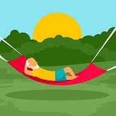 Old Man Rest Hammock Concept Background. Flat Illustration Of Old Man Rest Hammock Concept Backgroun poster