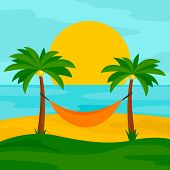 Hammock On The Beach Concept Background. Flat Illustration Of Hammock On The Beach Concept Backgroun poster