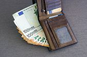 Wallet Stuffed With Euro Banknotes. Stuffed Leather Wallet. Euro Bills In Wallet. Leather Wallet, Fr poster