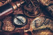 Travel geography navigation concept still life background - old vintage retro compass with sundial,  poster