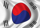 stock photo of seoul south korea  - flag of south korea waving in the wind - JPG