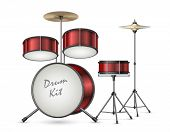 Drum Kit Realistic Illustration Isolated On Background. Professional Percussion Musical Instruments  poster