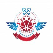 Winged Ancient Pentagonal Star Emblem Decorated With Keys, Security Theme. Heraldic Vector Design El poster