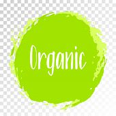 Organic Products Icon, Food Package Label Vector Graphic Design. Organic Food Logo, No Chemicals Sig poster