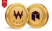 Neo. Won. 3d Isometric Physical Coins. Digital Currency. Korea Won Coin With The Text In Korean Bank poster