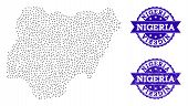 Dotted Black Map Of Nigeria And Blue Scratched Seal. Vector Map Of Nigeria Designed With Irregular S poster