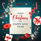 Shine Blue Background With Snowflakes, Gift Boxes And Balls. Winter Holiday Christmas Design For Ban poster