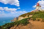Lighthouse at Cape Roca (Cabo da Roca), most western point of Europe at coast of Atlantic Ocean in P poster