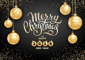 Merry Christmas And Happy 2019 New Year Greeting Card Or Banner Template With Realistic Golden Chris poster