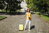 Joyful Traveler Tourist Woman In Yellow Casual Clothes Hat With Suitcase Retro Vintage Photo Camera  poster