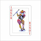 Bright Colourful Joker Playing Card Isolated On White poster