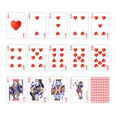 Full Set Of Hearts Suit Playing Cards With Joker Isolated On White poster