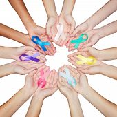 Colorful Ribbons, Cancer Awareness, World Cancer Day Background. Many Ribbons On Hands Isolated On W poster