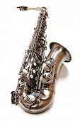 stock photo of saxy  - Silver saxophone isolated over white - JPG