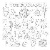 Hand Drawn Vector Design Elements Drawing Of Esoteric Symbols Spiritual Magic Sacred Signs And Symbo poster