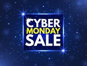 Cyber Monday Sale Concept Banner. Luminous Signboard, Nightly Advertising. Annual Sale Background. G poster