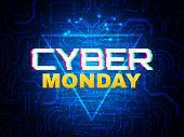 Cyber Monday Concept. Advertisement Banner. Online Sale Design. Futuristic Style Poster. Cyber Monda poster