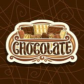 Vector Logo For Chocolate, White Retro Sign With Choice Of Different Kind Of Whole Premium Chocolate poster