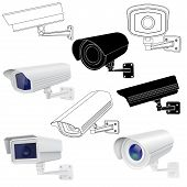 Cctv Security Camera Set. Surveillance Devices. 3d And Outline Drawings. Vector Illustration Isolate poster