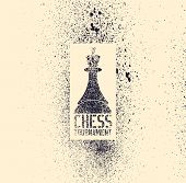 Chess Tournament Typographical Vintage Stencil Spray Grunge Style Poster. Retro Vector Illustration. poster