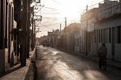 Las Tunas, Cuba - Jan 27, 2016: Evening View Of A Street In Las Tunas poster