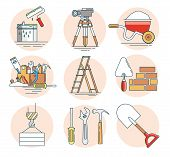 Modern Linear Pictogram Of Building Tools. Set Of Concept Line Icons Building Tools. Construction, H poster