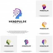 Collection Head Pulse Logo Vector, Head Intelligence Logo Designs Concept Vector poster