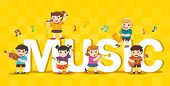 Music Concept Of Children Group. Kids Playing Musical Instruments Around Big Music Text. poster