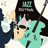 Jazz Music And Wine Colorful Background Flat Vector Illustration. Party Flyer, Jazz Music Club, Wine poster