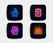 Neon Glow Lights. Set Of Checklist, Home And Phone Survey Icons. Gift Sign. Survey, House Building,  poster