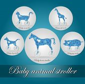 Illustration Of Baby Carriages In The Form Of Animals, Such As Horse, Pig, Giraffe, Cat And Dog. Ico poster