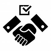 Political Hand Shake Icon. Simple Illustration Of Political Hand Shake Vector Icon For Web Design Is poster