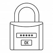 Password Lock Icon. Outline Illustration Of Password Lock Vector Icon For Web Design Isolated On Whi poster