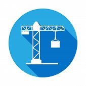 Crane Icon With Long Shadow. Elements Of Constraction Icon With Long Shadow. Signs And Symbols Colle poster