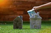 Crop Hand Of Kid Inserting Israeli New Shekel Bill Into Stone House On Green Grass poster